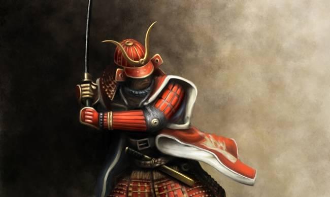 pintura de guerrero samurai