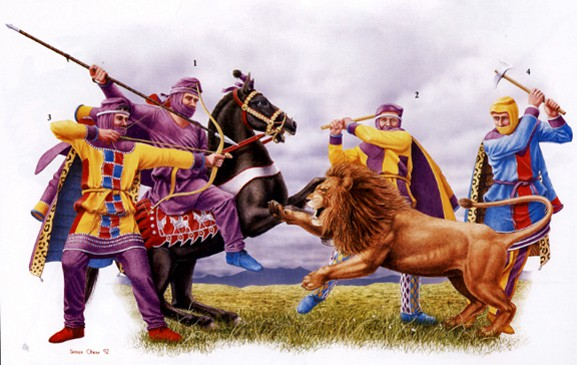 achaemenian-persian-immortals-troops-are-lion-hunting