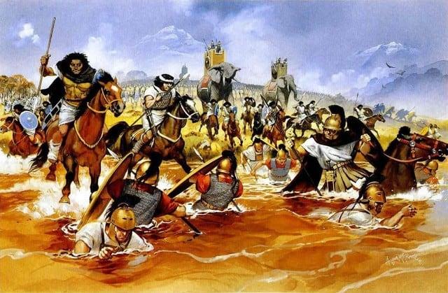 a-caballerc3ada-cartaginesa-africana-arrastra-a-los-romanos-al-rc3ado-en-trebia-218-a-c