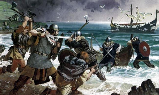 los vikingos en la batalla