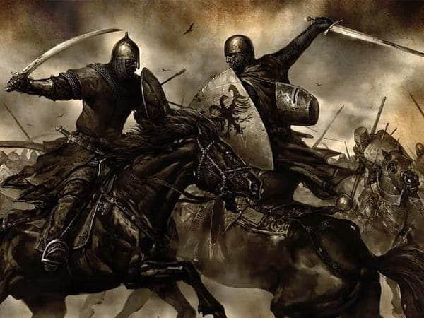 guerreros medievales a caballo en la batalla