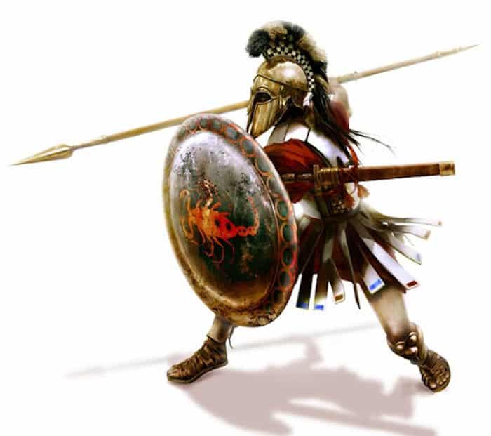 armas del guerrero hoplita